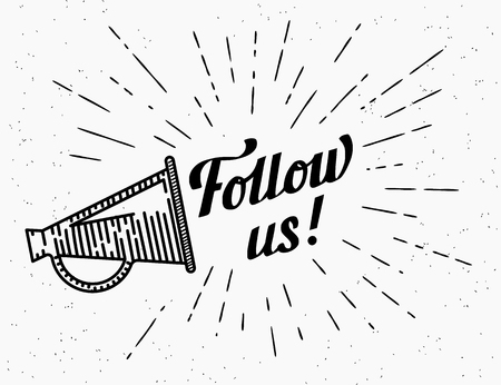 attention sign: Follow us banner for social networks. Flat illustration of retro fashioned megaphone with handwritten lettering text and starburst in hipster style. Transparent template design