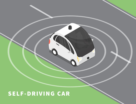 intelligent: Self-driving car flat isometric illustration of intelligent controlled driverless car on the road upper view