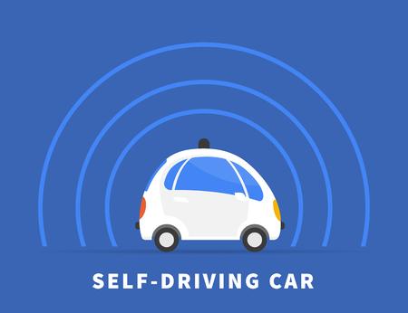 manejando: ilustración plana coche de auto-conducción sobre fondo azul. Símbolo conceptual de coche sin conductor controlado inteligente con sensores