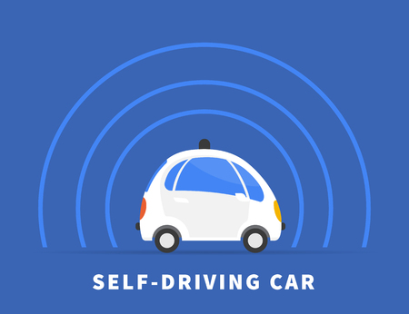 intelligence: Self-driving car flat illustration on blue background. Conceptual symbol of intelligent controlled driverless car with sensors