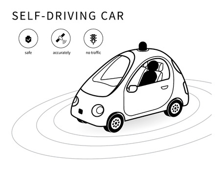 controlled: Self-driving car isomentic line icon with safety transportstion, smart navigation and no traffic icons. Conceptual symbol of intelligent controlled driverless car
