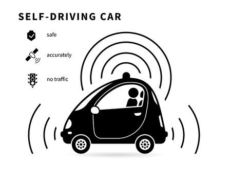 manejando: Auto-conducción del coche icono negro con transportstion seguridad, navegación inteligente y no hay iconos de tráfico. Símbolo conceptual de coche sin conductor inteligente controlado