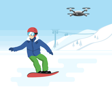 active life: Snowboarding and remote drone with camera. Young snowboarder and quadrocopter with camera flying in the sky and recording a video of active sport life Illustration