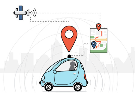 Flat infographic illustration of self-driving intelligent controlled driverless car with navigation sensor and satellite Иллюстрация