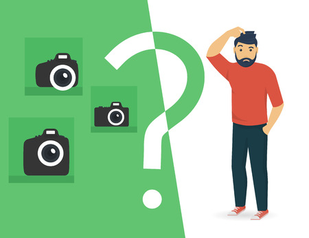 Confused man is choosing between compact, semi professional and professional slr camera. Flat illustration of male character standing full length with question sign. Isolated on white