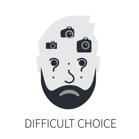 hesitate: Confused man head is choosing between compact, semi professional and professional slr camera. Flat illustration of male head with question sign. Isolated on white