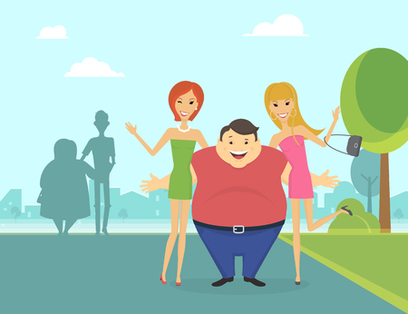 renown: Fat man with his thin girlfriends in the park and thin man with fat woman behind them. Flat conceptual illustration