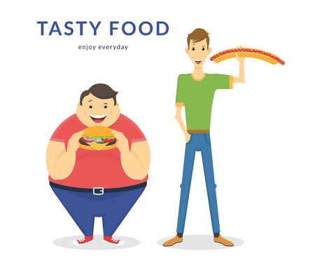 eating healthy: Happy fat and thin men eating a big hamburger and hot dog. Flat concept illustration of junk food isolated on white background
