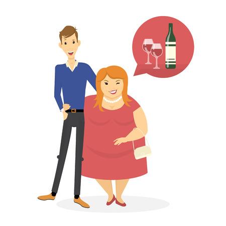 enamorados caricatura: el hombre y la mujer delgada de grasa están abrazando. Ejemplo del concepto de plano de una pareja de citas y las mujeres seducción. Aislado en el fondo blanco