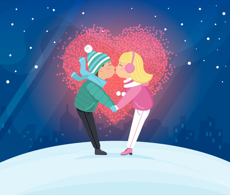 young couple: Couple kissing outdoors in winter season. Flat illustration for Valentines day of young man and young woman with big love heart behind