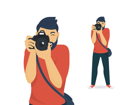 the photographer: Happy photographer is taking a photo using slr camera. Flat illustration of young male character standing full length and shooting. Isolated on white