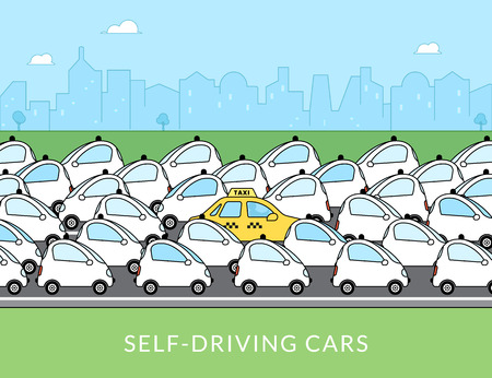 Flat infographic illustration of traditional taxi car with many self-driving intelligent driverless cars around