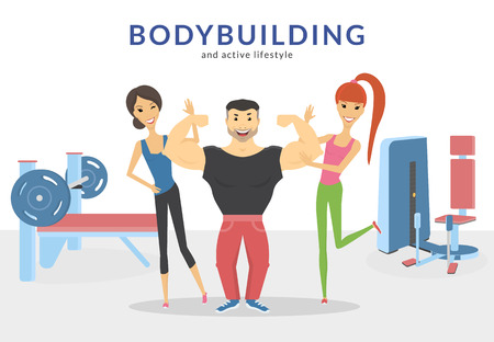 Happy bodybuilder with two women in the gym demonstrates his muscles. Flat concept illustration of active lifestyle isolated on white Vectores