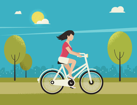 freedom woman: Young woman rides white bicycle in the park in spring season. Flat color illustration of teenage healthy leisure and freedom