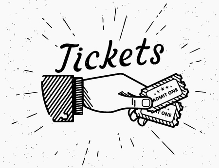 Retro grunge illustration of human vintage hand drawing with two tickets. Hipster style fully transparent icon with sunburst isolated on white background. Illustration