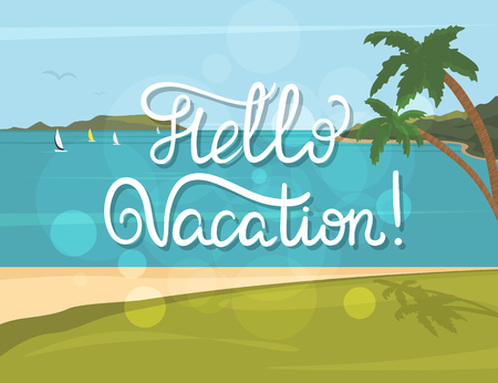 coast: Hello vacation vintage banner with handwritten lettering and summer tropical beach, palms and blue sea