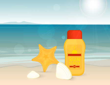 skin burns: Bright banner with sunscreen lotion on the beach with sun light and seashell. Illustration for skin protection in summer season