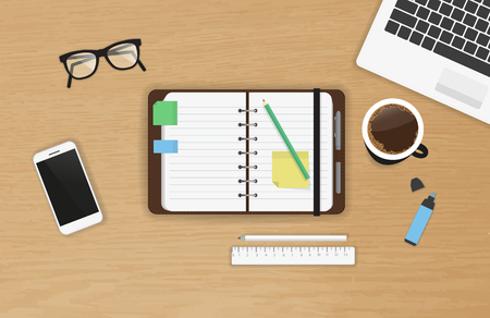 Realistic work desk organization with open diary and stickers for notes on the wooden textured table. Top view with cup of coffee, laptop, smartphone and pencil to write note and remarks