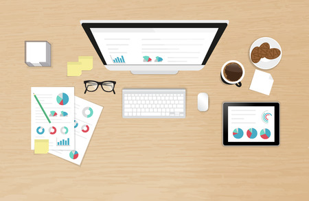 Realistic work desk organization top view with textured table with analytics process using computer, smartphone, tablet pc and report with diagram