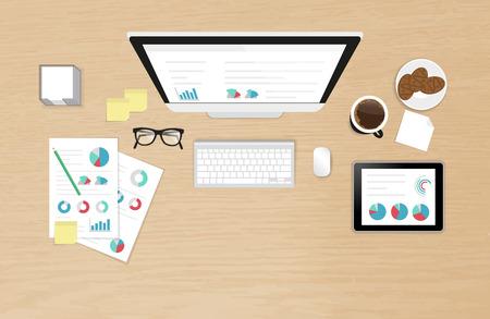 Vista organización escritorio de trabajo realista con la tabla con textura de un proceso de análisis con ordenador, teléfono inteligente, tablet PC y reportar con el diagrama Ilustración de vector