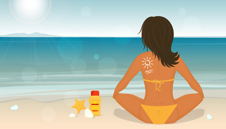 sittting: Young girl sunbathes on a beach and caring about her health she uses sunscreen lotion. Bright illustration of tanned woman sittting on the beach