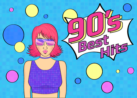 retro party: Best hits of 90s illistration with disco woman wearing glasses and pink hair on blue background. Bright illustration for retro party or poster