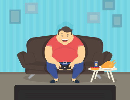 Fat man sitting at home on the sofa playing video games and eating. Flat illustration of e-sport and unhealthy lifestyle Ilustrace
