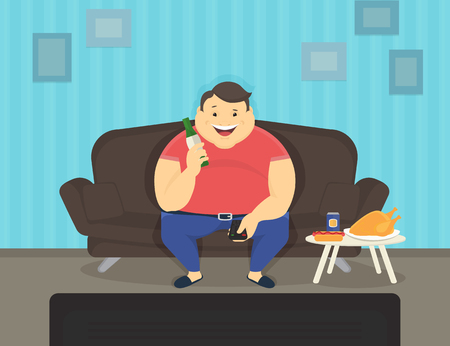 watching: Fat man sitting at home on the sofa watching tv and drinking beer. Flat illustration of unhealthy lifestyle and resting at home
