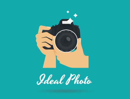 Photographer hands with camera icon or template. Flat illustration of lens camera shooting macro image with flash and text ideal photo Çizim
