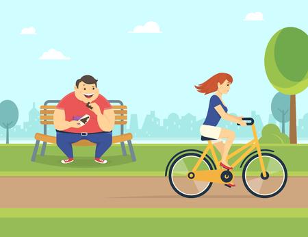 gordo feliz comiendo un chocolate sentado en el parque en el banco y mirando a la mujer bonita que monta una bicicleta. Ejemplo del concepto de piso de los malos hábitos