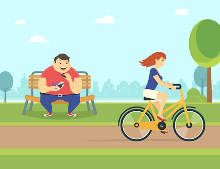 Happy fat man eating a chocolate sitting in the park on the bench  and looking at pretty woman riding a bicycle. Flat concept illustration of bad habits