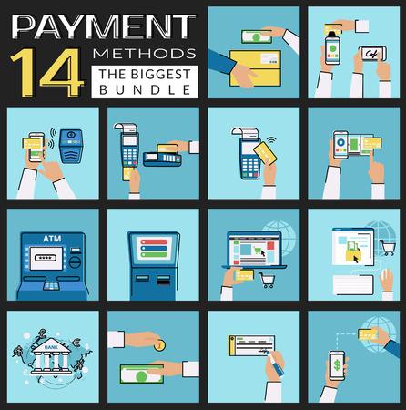 iconos planos del conjunto de métodos de pago como tarjeta de crédito, NFC, aplicación móvil, cajeros automáticos y terminales, de pago inalámbrico, página web y el dinero electrónico, transferencia bancaria, dinero en efectivo y la factura, la entrega y la adquisición de móviles