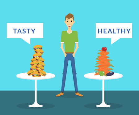 Thin man standing between tasty burgers and healthy carrots and choosing what better for him. Flat illustration of healthy and junk food
