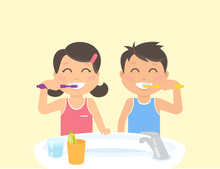 Gelukkig kinderen tanden poetsen staan in de badkamer in de buurt van wastafel. Flat illustratie van kinderen tanden zorg en een gezonde levensstijl en hygiëne