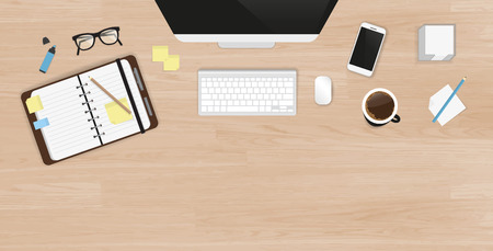 Realistic work desk organization. Top view with textured table, computer with keyboard, smartphone, stickers, glasses, open diary and coffee mug