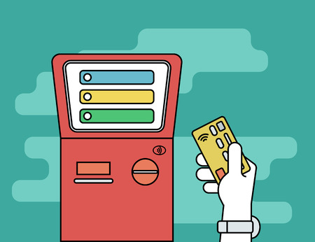 access card: Human hand with credit card getting access to payment terminal. Flat line contour illustration of payment via credit card Illustration