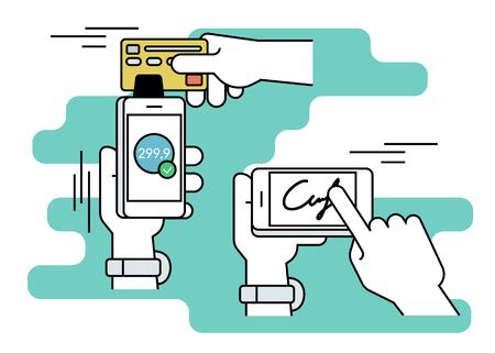checkout line: Mobile acquiring with signature via smartphone. Flat line contour illustration of payment via smartphone app