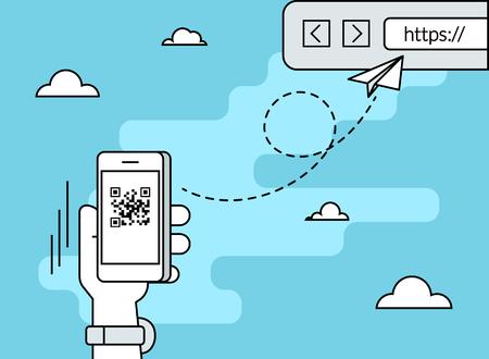 codigo binario: El hombre est� escaneando el c�digo QR a trav�s de aplicaci�n de tel�fono inteligente a continuaci�n, siguiendo el enlace a la p�gina web. ilustraci�n plana curva de nivel de c�digo de barras escaneado a trav�s de aplicaci�n para tel�fonos inteligentes Vectores