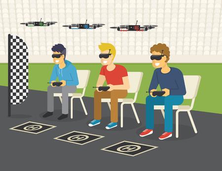Quadrocopter compétition de course nouveau sport. illustration plat de trois gars qui portent des lunettes pour contrôler les drones via la console à distance