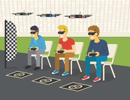 Quadrocopter racing competition new sport. Flat illustration of three guys wearing glasses to control drones via remote console