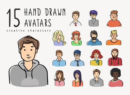 Ensemble d'avatars dessinés à la main de différents personnages. Les gens d'affaires et les adolescents traduisent l'illustration pour la communauté créative ou les réseaux sociaux