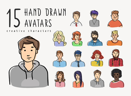 young: Hand drawn avatars set of different characters. Business people and teenagers portrate illustration for creative community or social networks