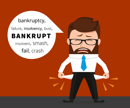 penniless: Sad business man crying because of bankruptcy. Conceptual flat illustration of finance and crisis