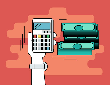 pay money: Pay per click. Flat line contour illustration of calculating money using smartphone on red background