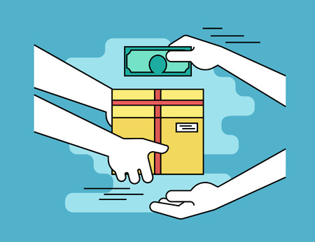 package sending: Payment by cash for express delivery. Flat line contour illustration of human hand holds a carton box and other man giving money to courier for the shipping service