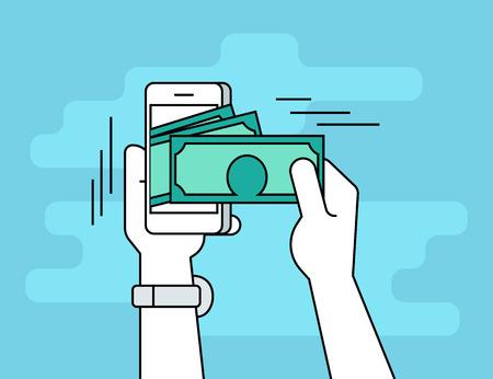 Bankowość mobilna. Płaski kontur linia ilustracja ludzkiej dłoni podejmuje gotówkę z jego smartphone