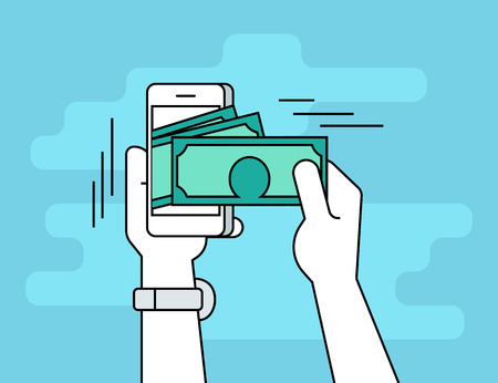 cellphone in hand: Mobile banking. Flat line contour illustration of human hand  withdraws cash from his smartphone