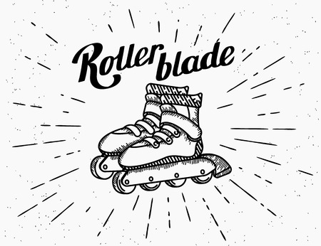 rollerblading: Roller blades vintage icons in hipster style with handwritten lettering and sunburst isolated on white