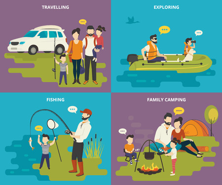 tent: Family with kids concept flat icons set of travelling by car, father and son are going exploring using the inflatable boat, fishing with dad and resting near a tent with a pot on the fire