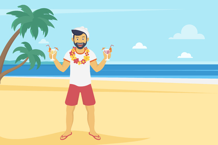 trees sky: Happy young man enjoying and drinking cocktails on the beach with palm trees. Landscape illustration in flat modern style of summer vacation and traveling